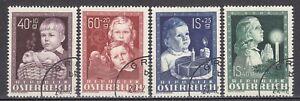 AUSTRIA used 1949 SC# SEMI-POSTAL STAMPS - B 260 - B 263  - For Child Welfare