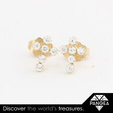 Vintage Estate 14k Solid Yellow Gold CZ Zirconia Cross Stud Earrings