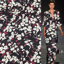 White floral on black 100% pure silk satin Charmeuse fabric Vintage,SSC202