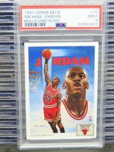 1991-92 Upper Deck Michael Jordan Bulls Checklist #75 PSA 9 Mint Bulls (91) D262