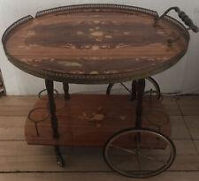 Beautiful Vintage Italian Inlaid Marquetry Wood Drop Leaf Serving Bar Tea Cart