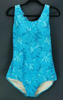 Ocean Aqua Shape Womens 42/16 Swimsuit Blue Floral One Piece Racerback Swimwear