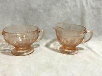Vintage Federal Sharon Cabbage Rose Depression Glass Pink Creamer & Sugar Bowl