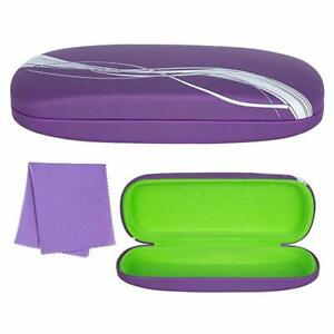 Hard Eyeglass Case Protective Clamshell Holder for Glasses With Microfiber Cloth