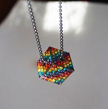 Vintage Top Shop Rainbow Rhinestone Cube Pendant Necklace