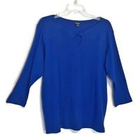 Rafaella Woman Plus Size 1X Blue Knit Top Keyhole Neck 3/4 Sleeves