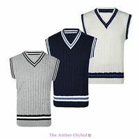 MENS CLASSIC CABLE KNITTED CRICKET TANK TOP V NECK STRIPE SLEEVELESS VEST S-XL