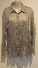 SIZE 16 WOMEN'S GREY PLEATED CRUSHED LOOK LONG SLEEVE  'EVE HUNTER' SHIRT