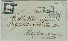 ANTICHI STATI: SARDEGNA - STORIA POSTALE: Sass 15c su BUSTA da FERRARA 1860