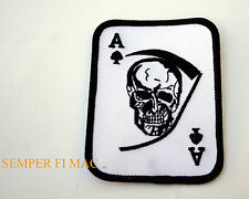 ACE OF SPADES GRIM REAPER DEATH CARD HAT PATCH SKULL PIN UP CARD DECK OD GREEN