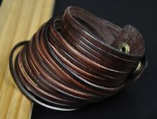 S59 COOL Double Wraps Multi 10-Band Leather Bracelet Wristband Snap Cuff BROWN
