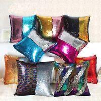 """Rainbow Magic Throw Pillow Case Reversible Mermaid Sequin Sofa Cushion Cover 16"""""""