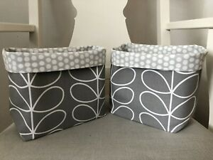 Handmade Orla Keily Designer Silver Grey  Fabric Lined Storage Baskets Set Of 2
