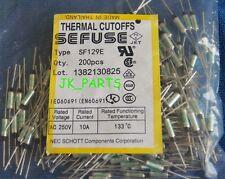 10pcs SF129E SEFUSE Cutoffs NEC Thermal Fuse 133°C Celsius Degree 10A 250V