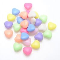 100 Mixed Pastel Color Acrylic Cute Love Heart Beads Charms 12X11mm