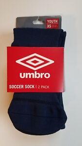 NEW! UMBRO soccer socks Youth XS Shoe size 9k-1 2-pack color Navy blue