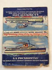 Vintage Matchcover VA Ferry Line SS Pocahontas SS Princess Anne Map Back 1950s