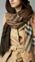 BURBERRY Lightweight Check Wool and Silk Scarf Camel Check RRP £275