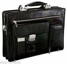 Bettoni Slick Full Grain Leather Gusseted Briefcase Removable Laptop Holder