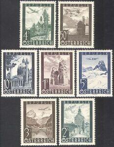 Austria 1947 Air Mail/Windmill/Church/Castle/Planes/Aircraft/Buildings 7v n42222
