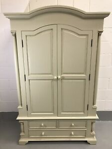 French Armoire Antique Shabby Chic Style Double Wardrobe & Drawers