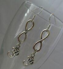 925 Sterling Silver Hook Ohm OM Symbol Lotus Infinity Yoga Dangle Drop Earrings