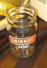 "Smirnoff ICE Vodka Glass Mason Jar 1 pint Moonshine Jug Advertisement ""James"""