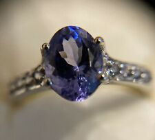 AAA Tanzanite & Colour Change Garnet 10K White Gold Ring Size P Jacque Christie