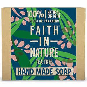 Faith In Nature TEA TREE 100% Natural Hand Made Soap Bar 100G & Essential Oils