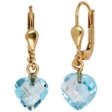 Damen Ohrhänger Herz 585 Gold Gelbgold 2 Blautopase blau Ohrringe Boutons.