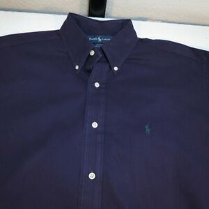 RALPH LAUREN POLO BLAKE BUTTON UP SHIRT Mens L Purple with Green Pony