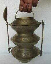 Vintage Old Brass Handcrafted 3 Compartment Unique Shape Tiffin Box