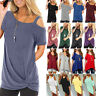 Women Summer Casual Cold Shoulder Short Sleeve Loose Blouse T-shirt Long Tee Top