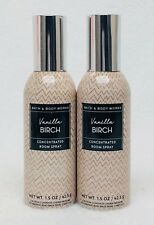 2 Bath & Body Works VANILLA BIRCH Mini Concentrated Spray Mist Room Perfume