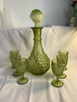 "Imperial Glass Green Frosted Grape Decanter & 6 - 4"" Wine Glasses Set EXCELLENT"