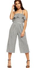 Womens Palazzo Trousers Jumpsuit Ladies Gingham Check Print Sleeveless Strappy