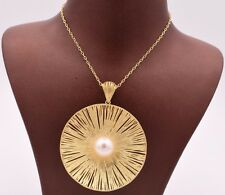 "Gold Clad Silver 925 Qvc 18"" Filigree Fan Round Pearl Necklace 14K Yellow"
