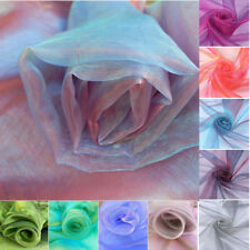 Metre TWO TONE Sheer Organza Sheer Satin Soft Voile Tulle Fabric Wedding Curtain