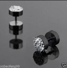 2Pc Black Men's Barbell Punk Stainless Steel Crystal Ear Studs Earrings