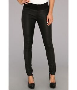 Joe's Jeans Black Leather Moto Pants the Skinny fit in Rosabelle W25 AU UK 6 8