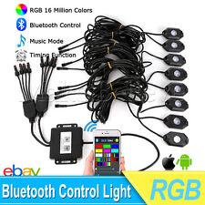 8x Pod RGB LED Rock Lights Wireless Bluetooth Music Flashing Multi Color Car 4WD
