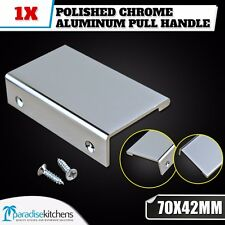 1x CHROME ALUMINUM 70x42mm KITCHEN CABINET CUPBOARD DRAWER PULL HANDLE