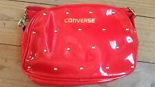 New CONVERSE Handbag. Shiny Red Patent Leather, Gold Studs. Shoulder Strap