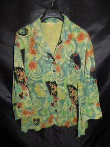 Tianello 2X Aida Blouse Green Black Orange Floral Shirt V Neck Button Tencel USA