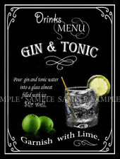 GIN AND TONIC: RETRO DESIGNED METAL SIGN  PUB,BAR,CLUB, MAN SHED HOME BAR,GIFT