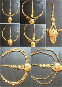 3 Lines Indian 22K Gold Plated Wedding Variation Different Pakistani Maang Tikka