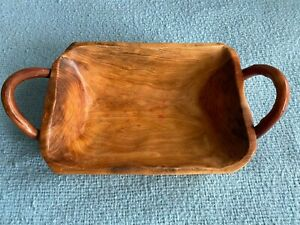 Handmade Wood Basket Tray Container w Handles Bread Rolls Fruit Decorative