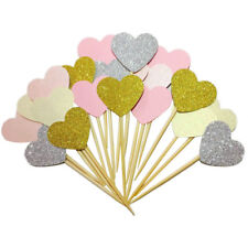 10x Heart Cake Topper Birthday/Christmas/Weddin g/Party Lovely Cupcake Supplies