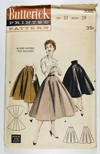 "1950's Vintage Pattern Butterick 7081 ""Quick & Easy"" Princess Skirt Waist 24"""
