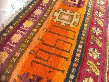 Dated 1960s,Star Patterned,Natural Dyes Wool Pile 5x13ft Armenian Rug